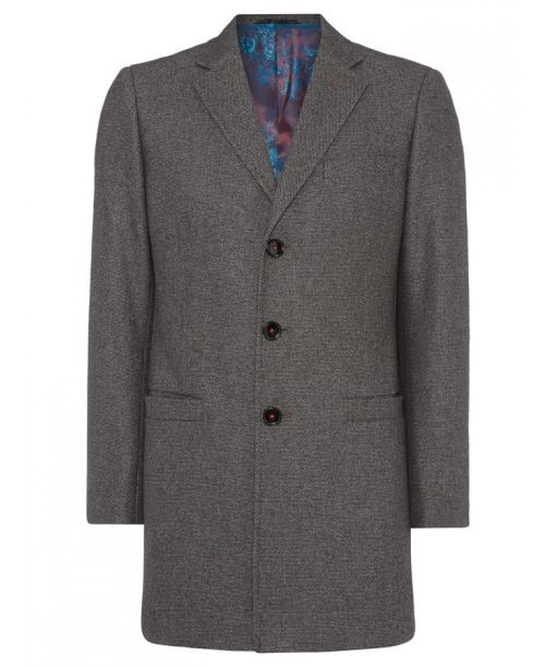 Remus Uomo Tapered Fit Wool Blend Overcoat Grey