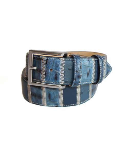 Robert Charles Blue Patchwork Leather Belt 40mm