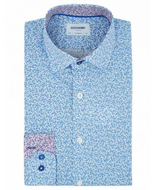 Duchamp Mini Floral Print Shirt Blue