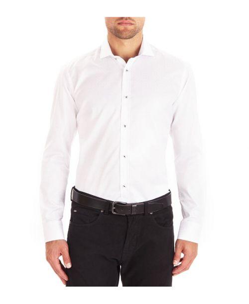 Guide London Cotton Sateen Self Check Shirt White