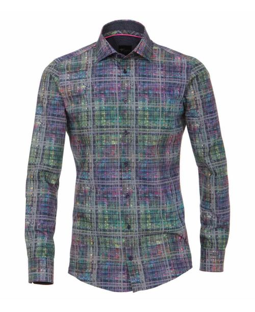 Venti Kent Slim Fit Shirt Green Check