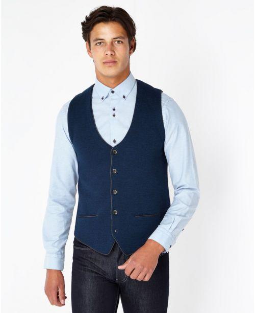 Remus Uomo Fine Gauge Merino Wool-Blend Knitted Waistcoat Blue