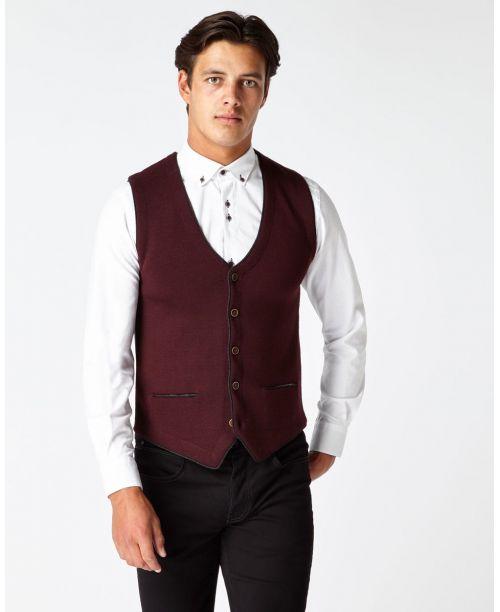 Remus Uomo Fine Gauge Merino Wool-Blend Knitted Waistcoat Burgundy