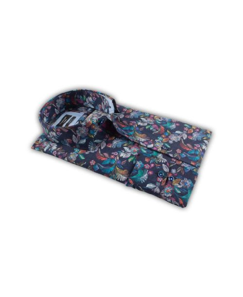 Giordano Arona LS Cutaway Luxury Print on Poplin Navy Floral
