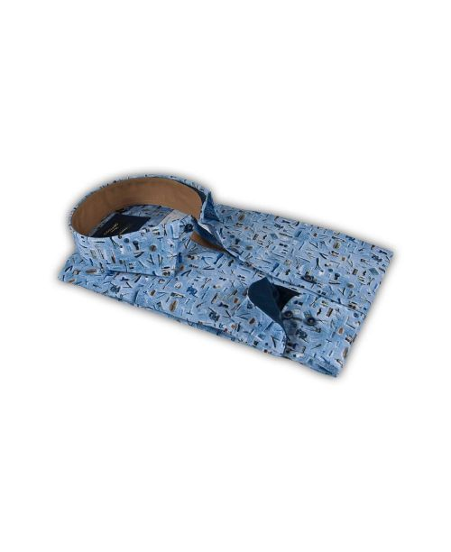 Giordano Arona LS Cutaway Accessories Print on Poplin Navy