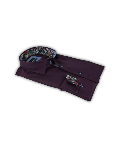 Giordano Arona LS Cutaway Flash Purple with Floral Trim