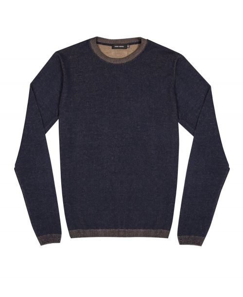 Guide London Two Tone Soft Touch Knit Navy/Taupe