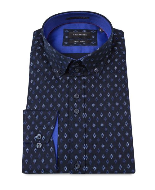 Guide London Cotton Stretch Shirt with a Sharp Geometric Print