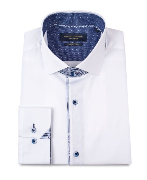 Guide London Cotton Sateen L/S Shirt with Contrast Buttons White