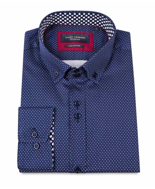 Guide London L/S Shirt Small Polka Dot Navy