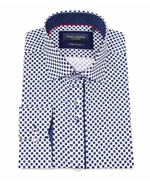 Guide London L/S Shirt with Large Polka Dot White/Navy