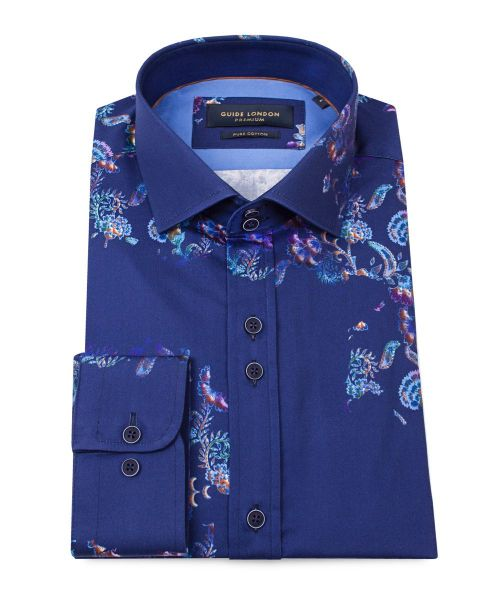 Guide London Cotton Sateen Shirt with Floating Design