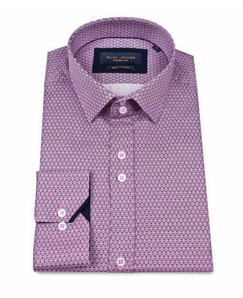 Guide London Cotton Sateen Shirt with Bright Micro Print Pink