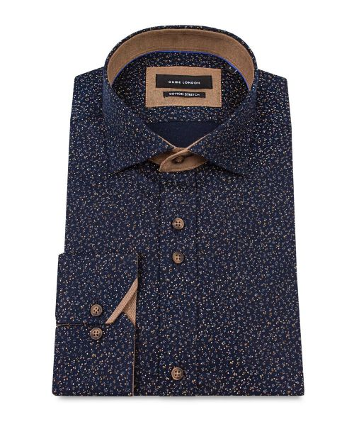 Guide London Navy Cotton Stretch Shirt with Ditsy Print