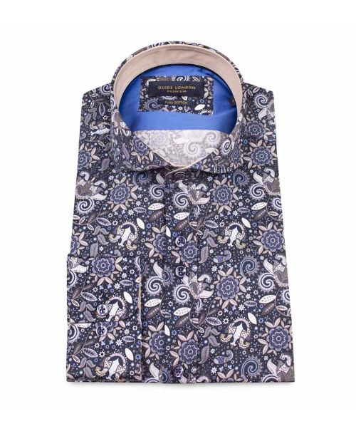 Guide London Cotton Shirt with a Sharp Mixed Print
