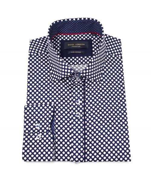Guide London L/S Shirt with Large Polka Dot Navy/White