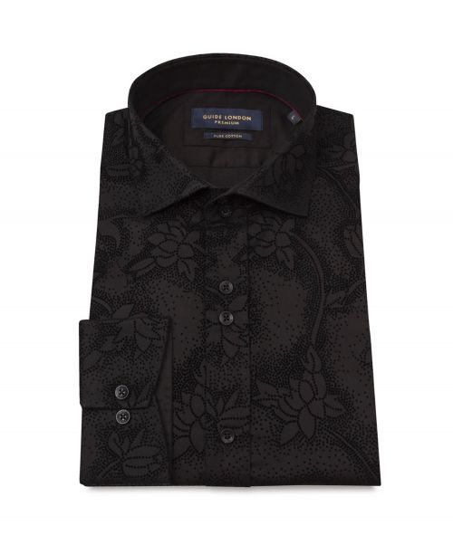 Guide London Cotton Sateen Shirt with Flock Print Black