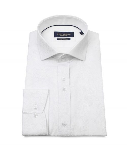 Guide London Cotton Sateen Shirt with Flock Print White