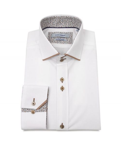 Guide London Cotton Blend Shirt with Panel Details and Geo Contrast