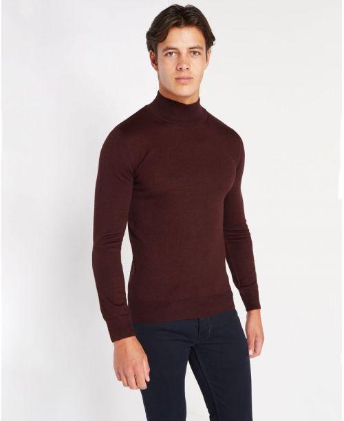 Remus Uomo Slim-Fit Merino Wool-Blend Turtle Neck Sweater Burgundy