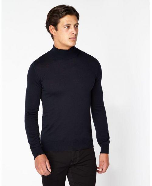 Remus Uomo Slim-Fit Merino Wool-Blend Turtle Neck Sweater Navy