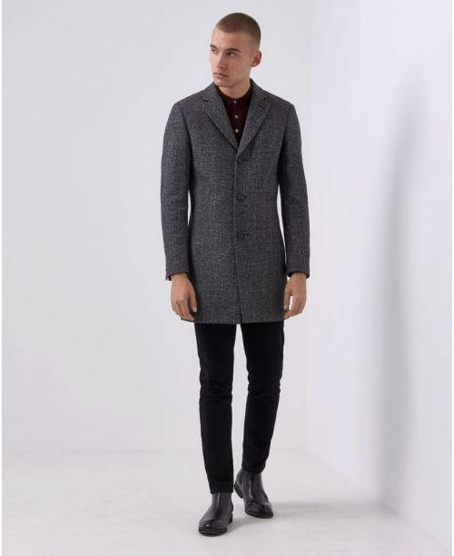 Remus Uomo Slim-Fit Wool-Mix Tailored Coat Grey