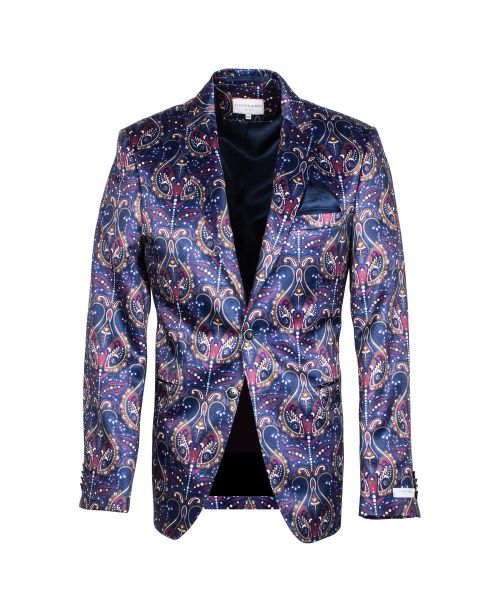 Giordano Robert Blazer with Paisley Print Navy