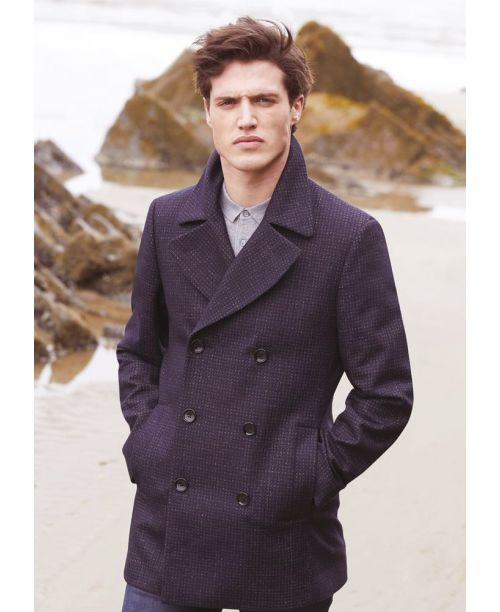 Remus Uomo Tailored Double Breasted Overcoat Navy