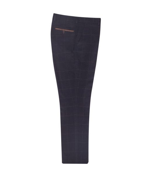 Fratelli Uniti Traditional Windowpane Check Trousers Navy