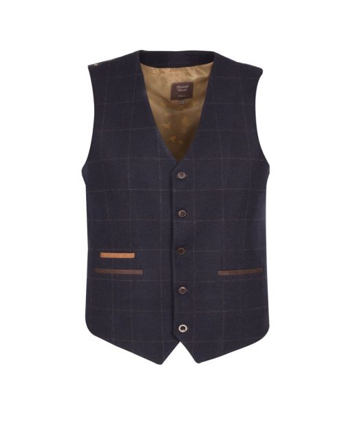 Fratelli Uniti Traditional Windowpane Check Waistcoat Navy