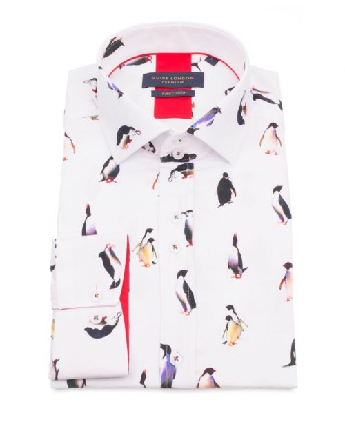 Guide London White Cotton Sateen Penguin Shirt