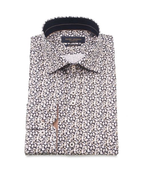 Guide London Cotton Sateen Shirt with Pebble Effect
