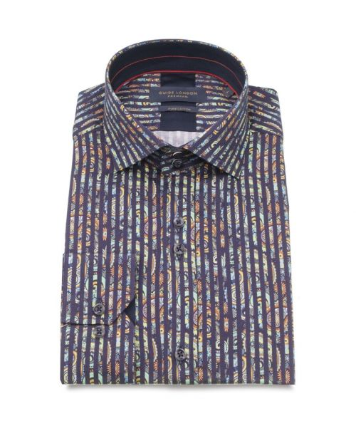 Guide London Cotton Sateen Striped Shirt with Paisley Print Navy