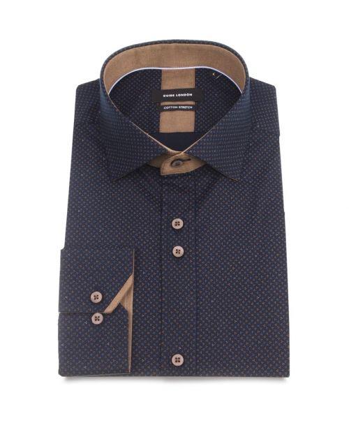 Guide London Navy Cotton Stretch Ditsy Pattern Shirt