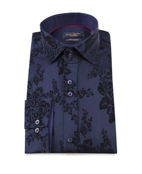 Guide London Navy Flocked Flower Print Cotton Sateen Shirt