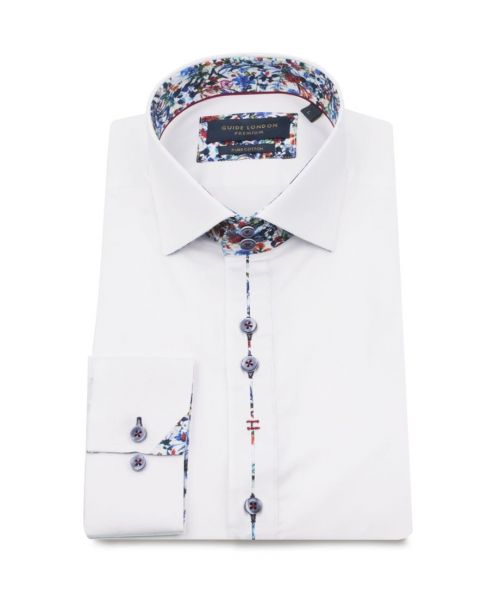 Guide London Cotton Sateen Shirt with Floral Trim White
