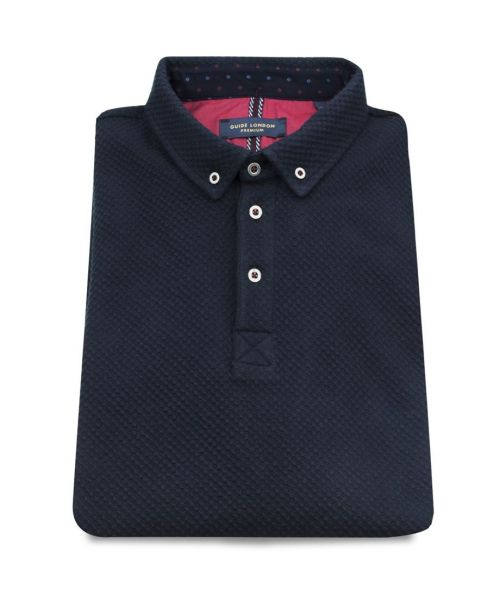 Guide London Textured Jacquard LS Jersey Navy