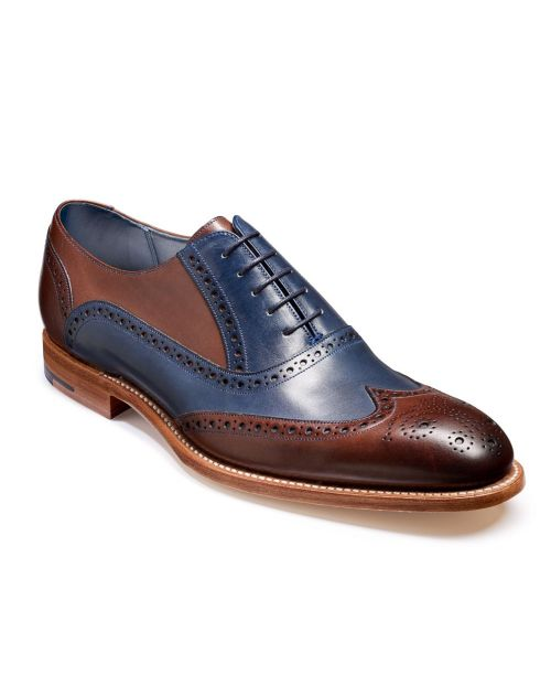 Barker Shoes Valiant Ebony/Navy Hand Painted Brogue