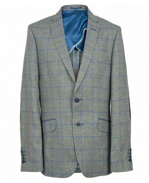 Holland Esquire SS15 Trend Contrast Overcheck Jacket Blue