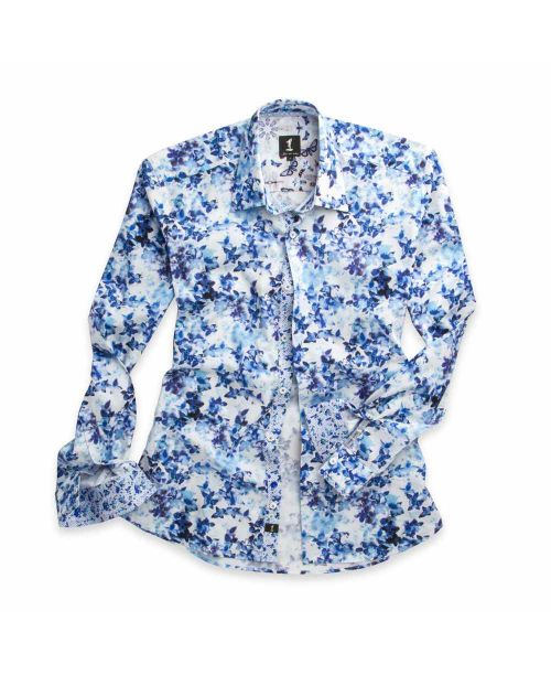 1 Like No Other Danaus Print Shirt 2776S Blue