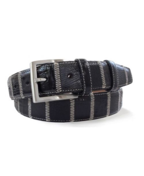 Robert Charles Black Patchwork Leather Belt 35 mm