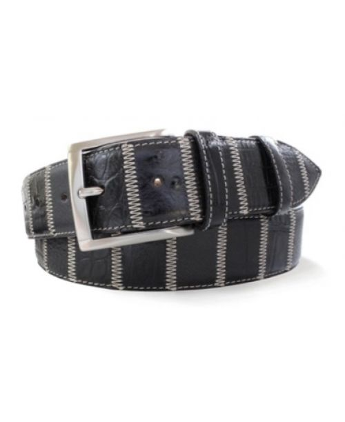Robert Charles Black Patchwork Leather Belt 40mm