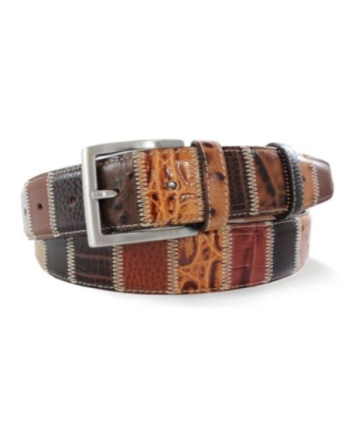 Robert Charles Brown Patchwork Leather Belt 35 mm