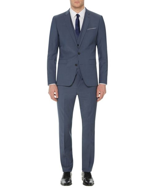 Remus Uomo Blue/Grey Slim Fit Wool-Rich 2 Piece Suit