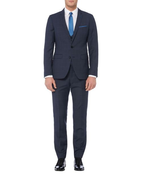 Remus Uomo Navy Slim Fit Wool-Rich Check MnM 3 Piece Suit