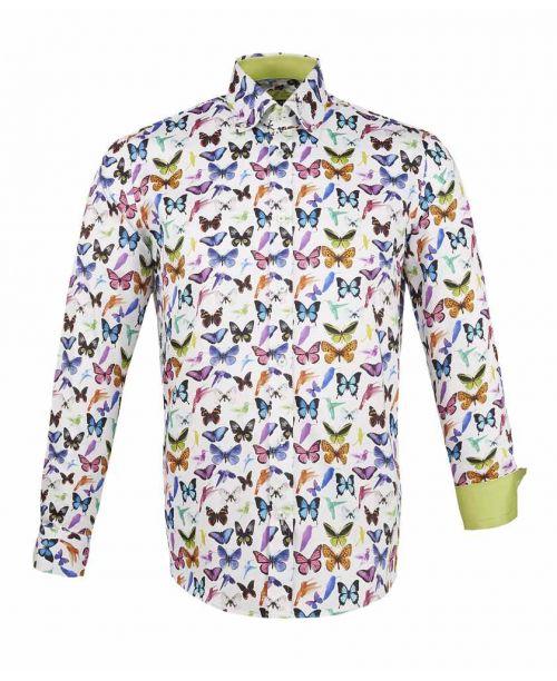 Guide London Cotton Sateen Butterfly Print Shirt Multi