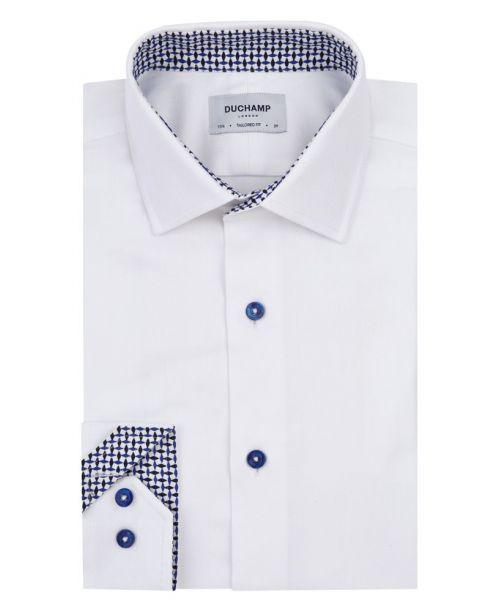 Duchamp Herringbone Contrast Shirt White