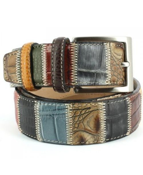Robert Charles Multi Colour Patchwork Leather Belt 40mm