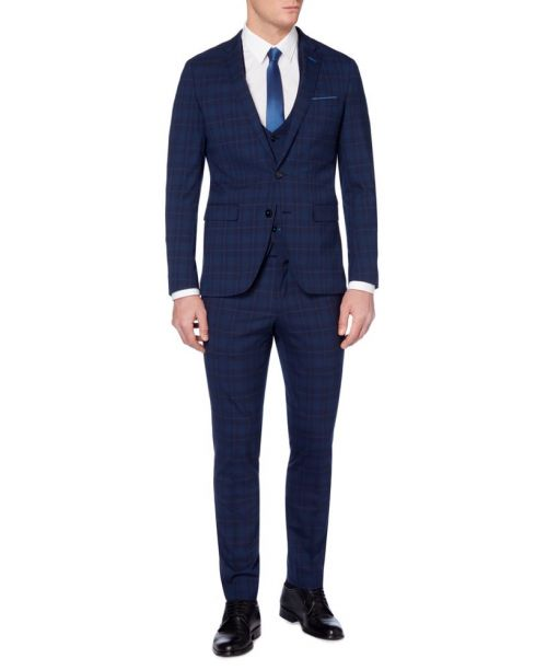 Remus Uomo X-Slim Fit Checked Wool-Rich Stretch MnM Navy 3 Piece Suit