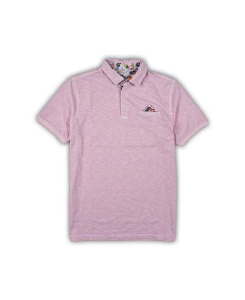 Giordano Hagen SS Slub Jersey Polo Pink